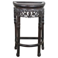 Vintage Asian Half-Moon Console Table Side Table Demilune Table or Stand