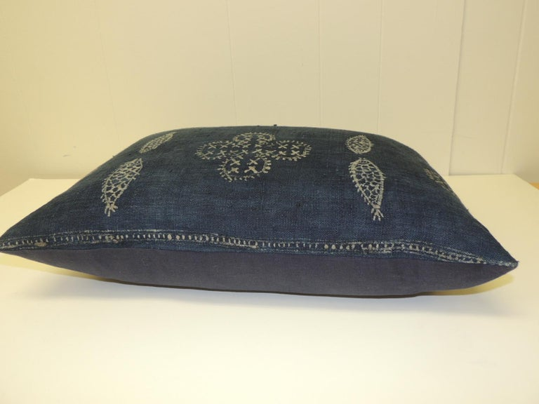 Tribal Vintage Asian Indigo and White Hand-Blocked Bolster Decorative Pillow For Sale