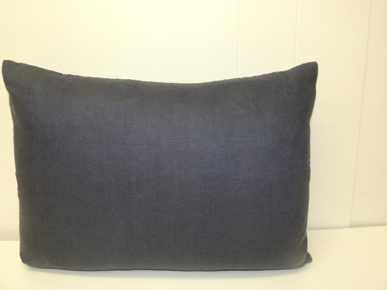 Hand-Crafted Vintage Asian Indigo and White Hand-Blocked Bolster Decorative Pillow For Sale