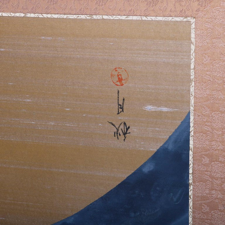 Hand-Painted Vintage Asian Japanese Hand Painted Four Panel Dividing Screen, 20th Century For Sale