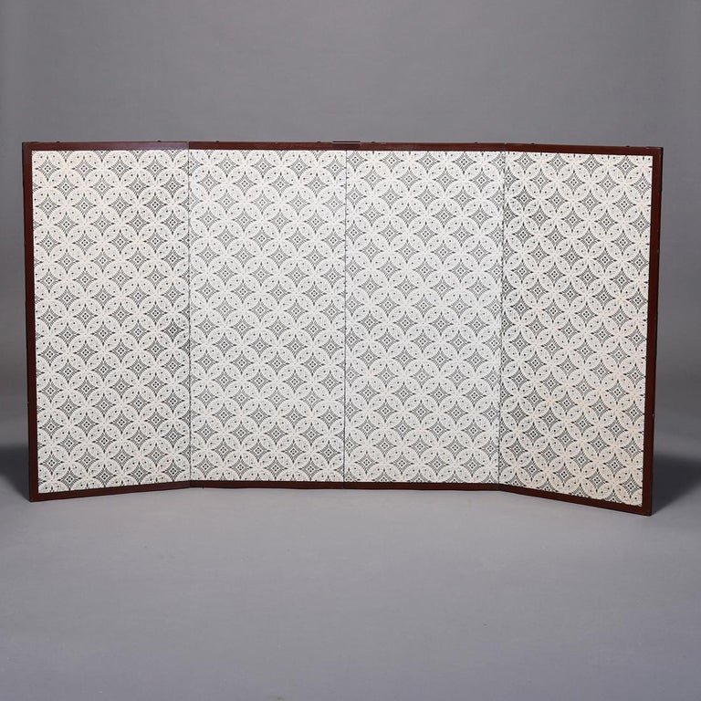 Vintage Asian Japanese Hand Painted Four Panel Dividing Screen, 20th Century In Good Condition For Sale In Big Flats, NY
