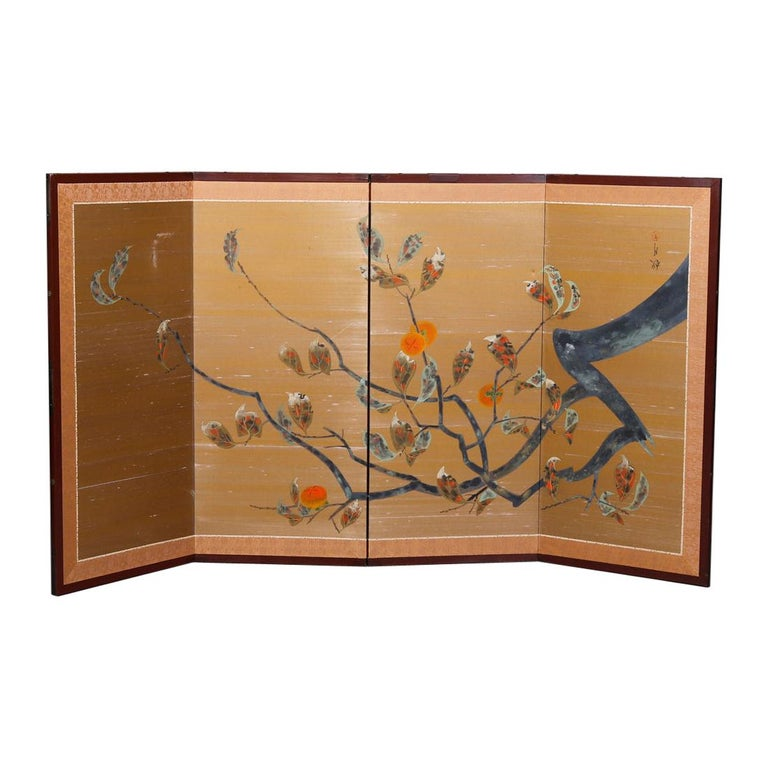 Vintage Asian Japanese Hand Painted Four Panel Dividing Screen, 20th Century For Sale