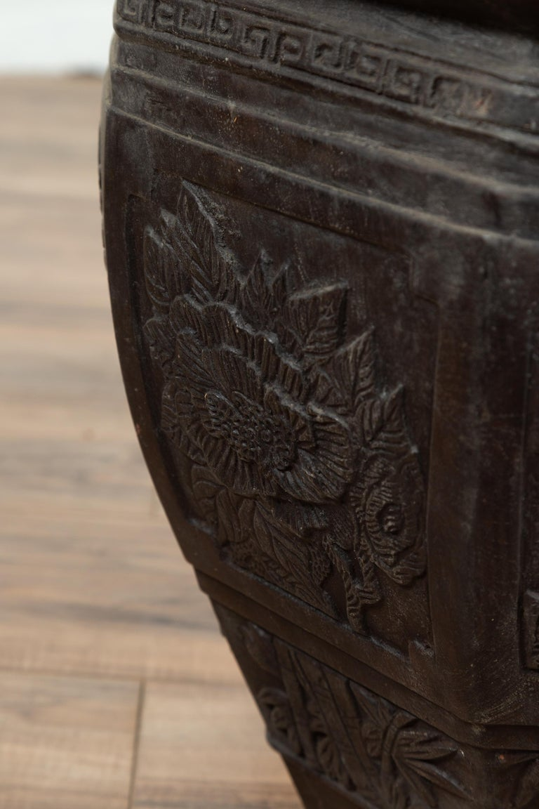 Vintage Asian Octagonal Bronze Planter with Floral, Foliage and Bird Motifs For Sale 7