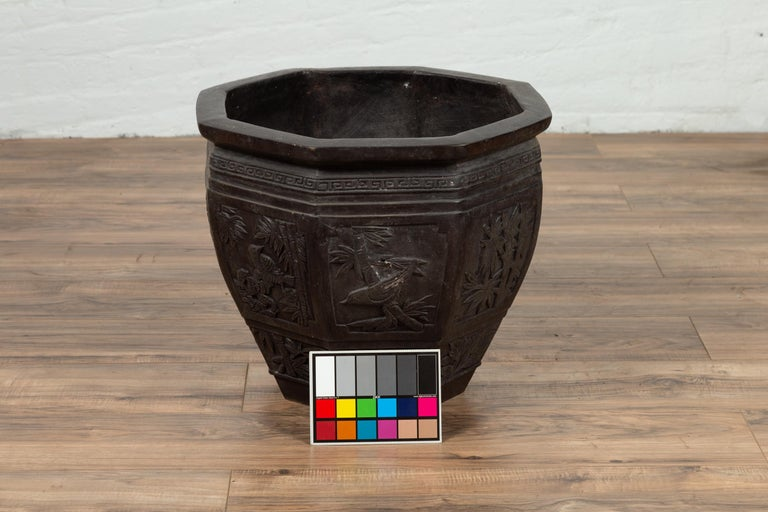 Vintage Asian Octagonal Bronze Planter with Floral, Foliage and Bird Motifs For Sale 9