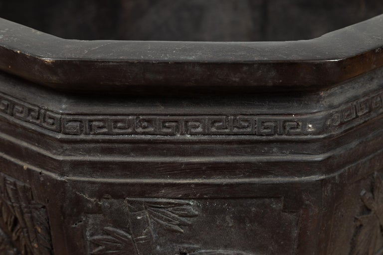 Vintage Asian Octagonal Bronze Planter with Floral, Foliage and Bird Motifs For Sale 4