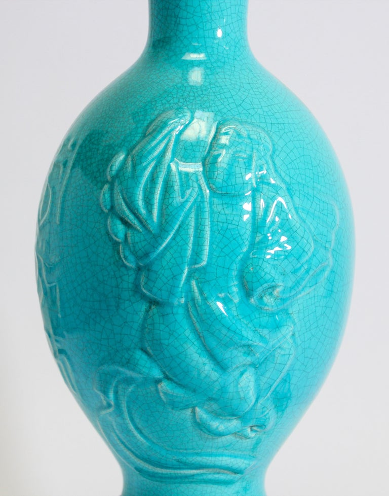 Porcelain Vintage Asian Oriental Chinese Turquoise Ceramic Table Lamp For Sale
