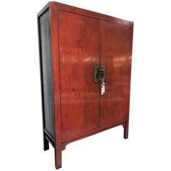 Vintage asiatisches roter Lack Schrank