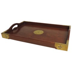 Vintage Asian Serving Tray with Brass Details