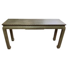 Vintage Asian Style Grass Cloth Console Table by Baker, circa 1970s