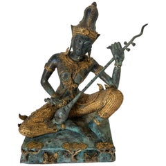 Vintage Asian Thai Gilt Bronze Statue of a Prince Playing Music