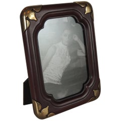 Vintage Asian Wood and Brass Picture Frame