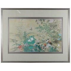 Vintage Asian Woodblock Print of Garden with Birds, Chop Mark Signed, circa 1940