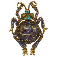 Vintage Askew London Glass Fire Opal Amethyst Scarab Bug Estate Brooch Pin