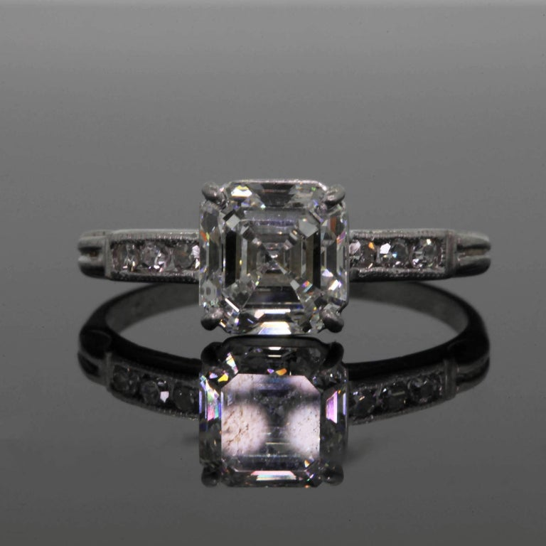 Emerald Cut 1.80 Carat  Asscher Cut Diamond Platinum Engagement Ring For Sale