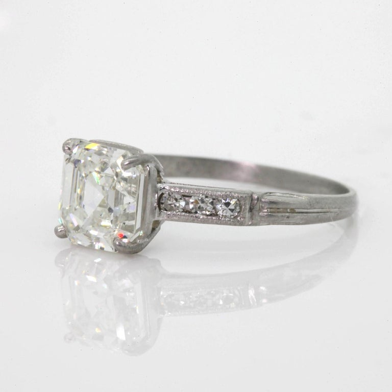 1.80 Carat  Asscher Cut Diamond Platinum Engagement Ring For Sale 1