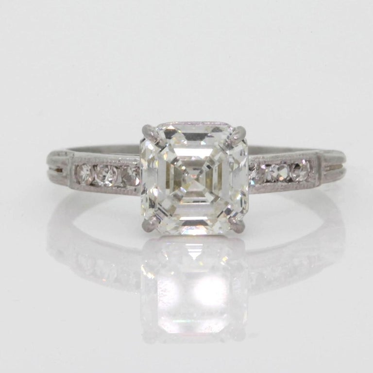 1.80 Carat  Asscher Cut Diamond Platinum Engagement Ring For Sale 2