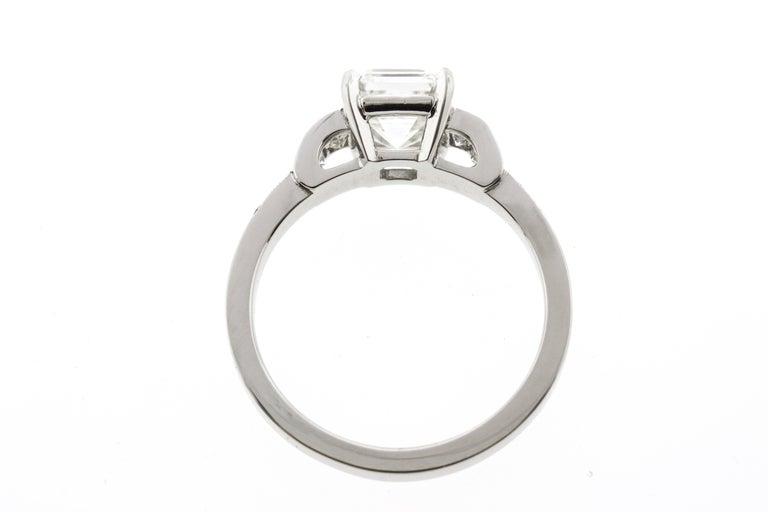 Art Deco Vintage Asscher Diamond Engagement Ring with Channel Set Diamonds & Sapphires  For Sale