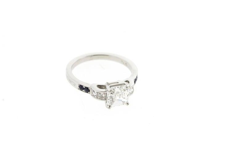 Asscher Cut Vintage Asscher Diamond Engagement Ring with Channel Set Diamonds & Sapphires  For Sale