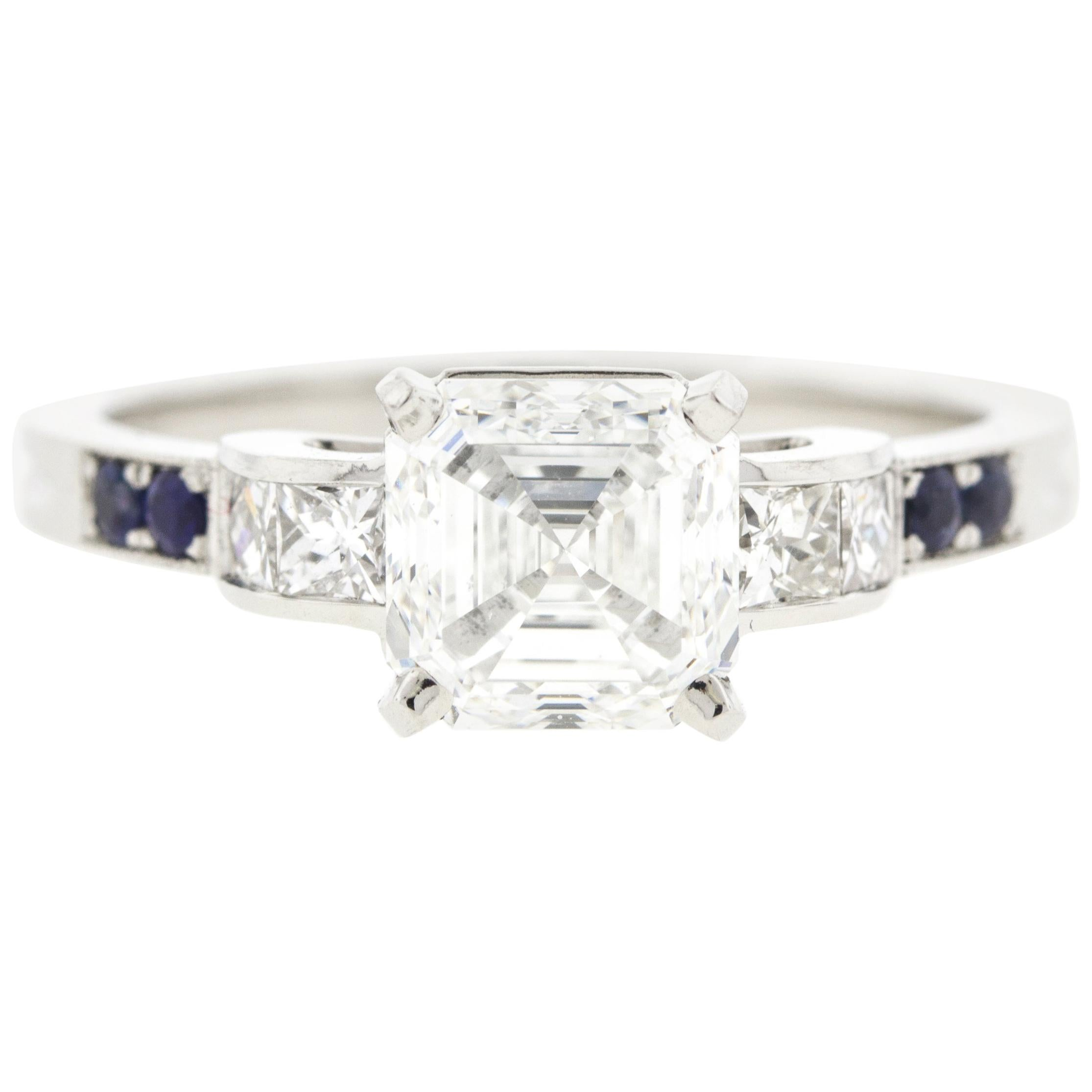 Vintage Asscher Diamond Engagement Ring with Channel Set Diamonds & Sapphires