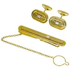 Vintage Aston Martin Diamond 18 Karat Yellow Gold Cufflinks Tie Pin Set