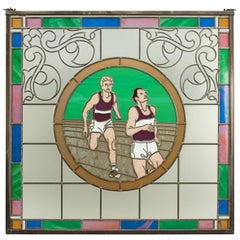 Vintage Athletics Stained Glass Window 1993 of Two Runners, from Mansfield Bar