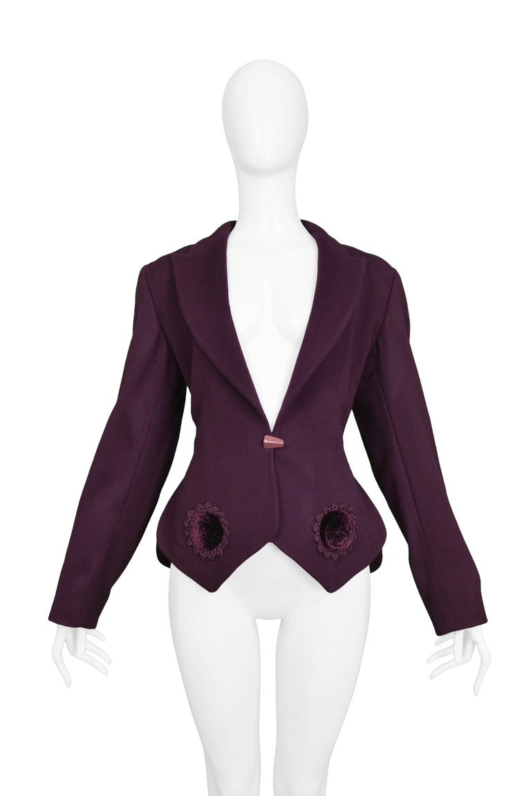 Black Vintage Aubergine Azzedine Alaia Wool Fitted Blazer w Velvet Appliques 1991 NWOT For Sale