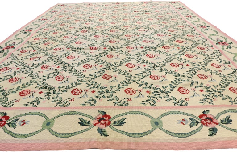 Vintage Aubusson Floral Trellis Needlepoint Chinese Rug
