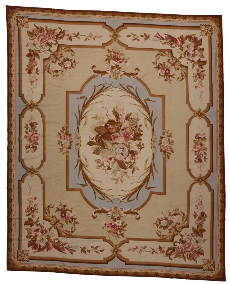 20th Century Vintage Aubusson French Victorian Style Rococo Needlepoint Rug For