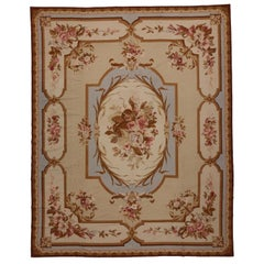Vintage Aubusson French Victorian Style Rococo Needlepoint Rug