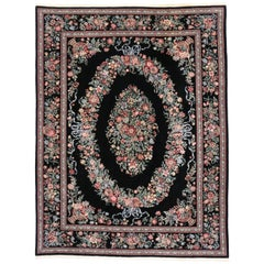 Vintage Aubusson Garden Chinese Area Rug with Baroque Floral Chintz Style
