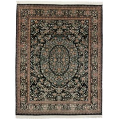 Vintage Aubusson Garden Style Area Rug with Traditional Design