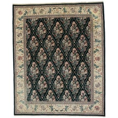 Vintage Aubusson Garden Trellis Chinese Rug with English Country Cottage Style