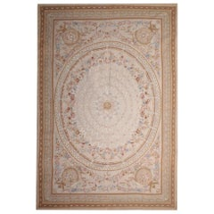 Vintage Aubusson Rug, Light Rust Needlepoint Pink Floral Country Home Decor