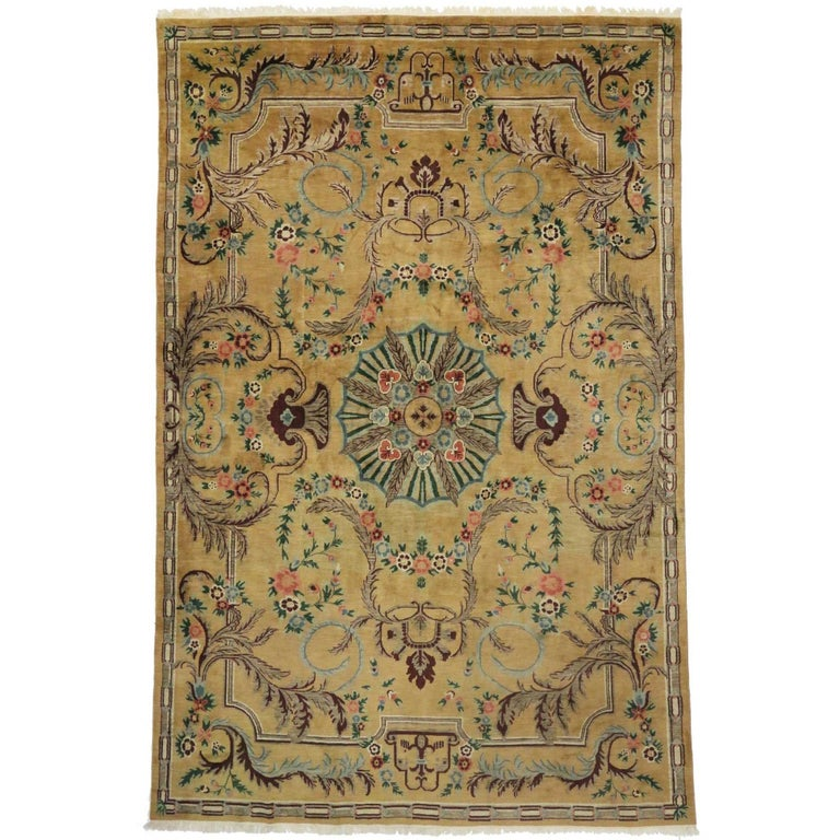 Vintage Aubusson Style Long Gallery Rug Palace Size Rug