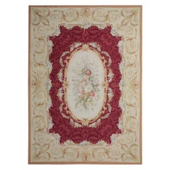 Vintage Aubusson Style Needlepoint Rug, Handmade Carpet Tapestry Wall Hanging