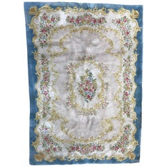 Vintage Aubusson Style Rug Savonnerie Rugs, Savonnery Style Carpet Tufted Carpet