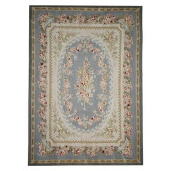 Vintage Aubusson Style Rug Tapestry, Blue Floral Needlepoint Country Home Decor