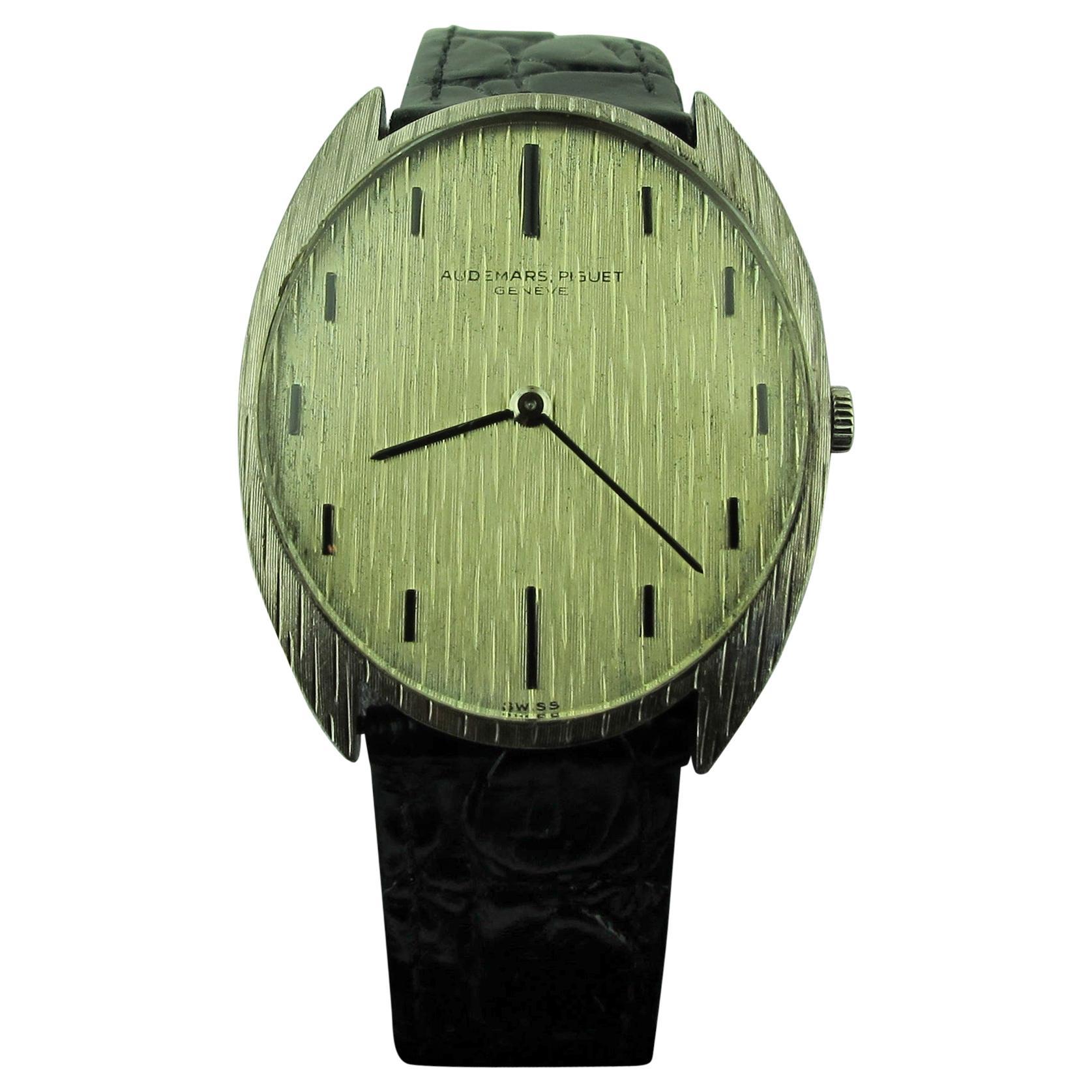 Vintage Audemars Piguet 18 Karat Gold Watch with Black Leather Strap