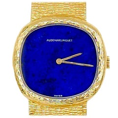 Vintage Audemars Piguet 18 Karat Yellow Gold Lapis Dial Watch