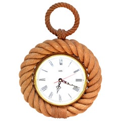 Vintage Audoux Minet Style Nautical Wall Rope Clock Shaped Pocket Watch France