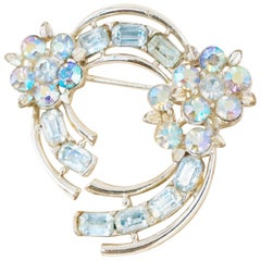 Vintage Aurora Borealis Blue Crystal Floral Brooch by Lisner, 1950s