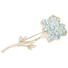 Vintage Aurora Borealis Blue Crystal Long Stem Flower Brooch by Lisner, 1950s