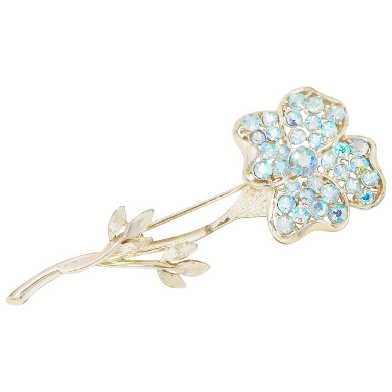 Vintage gold tone flower with ribbons and multi color crystal brooch circa 1950/'s.