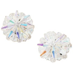 Vintage Aurora Borealis Crystal Burst Statement Earrings, 1950s