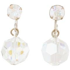 Vintage Aurora Borealis Crystal Drop Earrings, 1950s