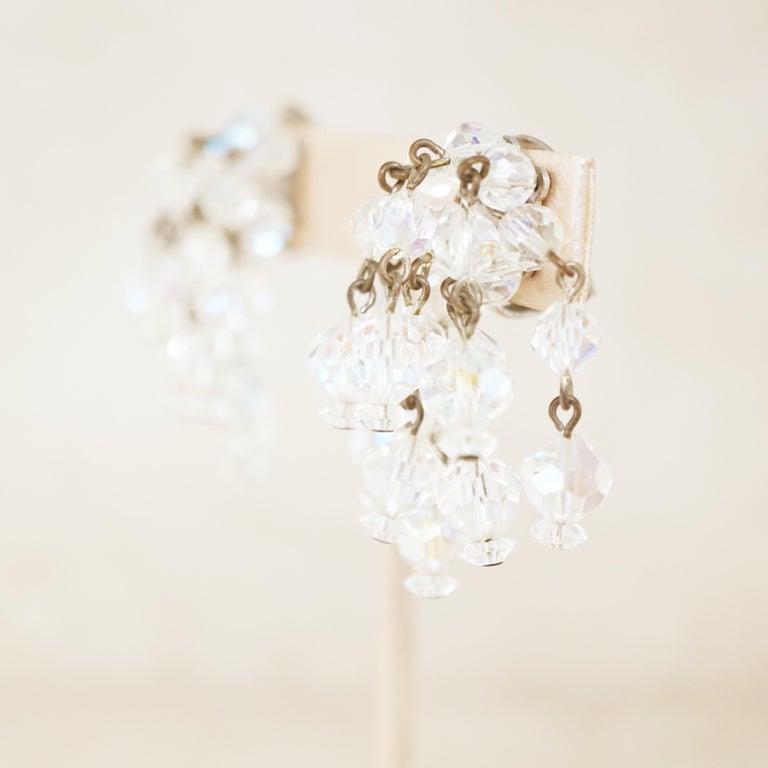 Modern Vintage Aurora Borealis Crystal Waterfall Earrings by Laguna, 1950s For Sale