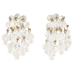 Vintage Aurora Borealis Crystal Waterfall Earrings by Laguna, 1950s