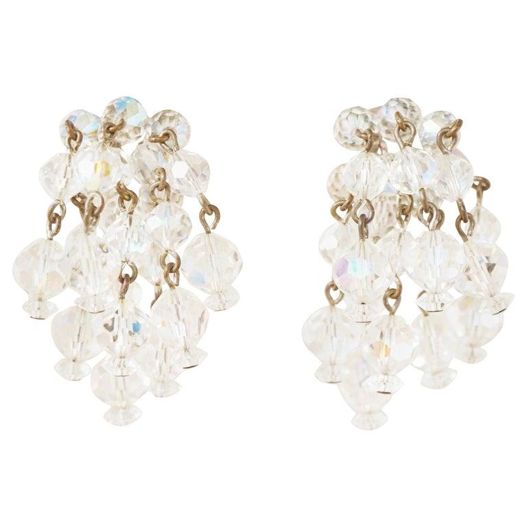 Vintage Aurora Borealis Crystal Waterfall Earrings by Laguna, 1950s For Sale