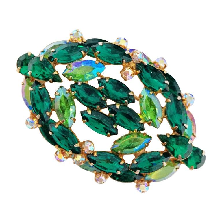 Large Emerald Green Aurora Borealis Glass Brooch