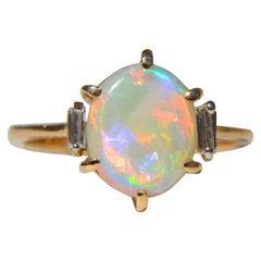 Vintage Australian 3.85 Carat Opal Baguette Diamond 14 Karat Gold Ring